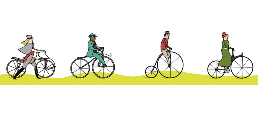 bicycle illustrations for chickadee magazine, canada