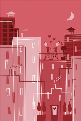 """""""rooftoplove"""" illustration vday card for paramount cards, usa"""