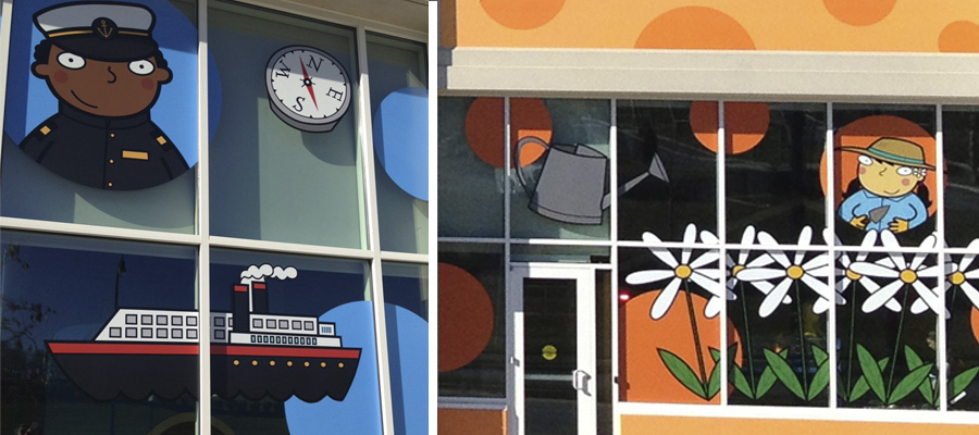 washington national children's museum - over 50 illustrations commissioned for the whole exterior of the building