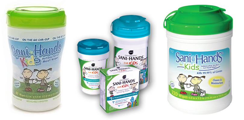 illustrations of 2 characters named cora and corey for sani-hands kids wipes for a series of packaging products.
